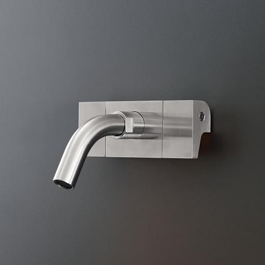 Настенный двухрычажный смеситель с краном. Длина 130 мм NEU16