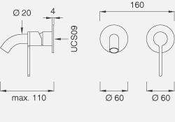 Настенный смеситель с краном. Длина макс. 110 мм INV20