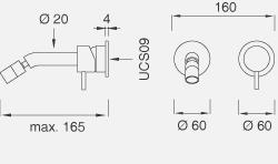 Настенный смеситель с настраиваемым краном. Длина макс. 165 мм MIL36
