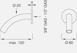 Настенный кран. Длина макс. 120 мм FRE51