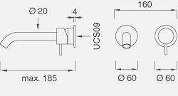 Настенный смеситель с краном. Длина макс. 185 мм MIL35