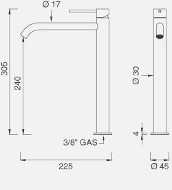 Настольный смеситель для раковины с цветной ручкой (открывается в холодной воде) GAS03