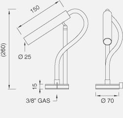 Настольный запорный клапан для холодной воды с настраиваемым и съемным вращающимся краном. Высота 260 мм AST12