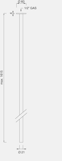 Потолочная труба высота макс. 1650 мм MIL73