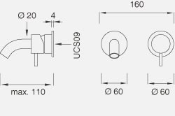 Настенный смеситель с краном. Длина макс. 110 мм MIL34