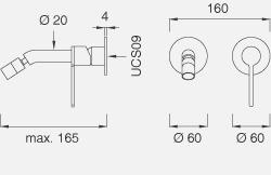 Настенный смеситель с настраиваемым краном. Длина макс. 165 мм INV23