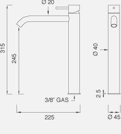 Настольный смеситель для раковины. Высота 315 мм MIL17
