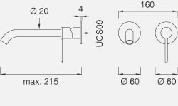 Настенный смеситель с краном. Длина макс. 215 мм INV22