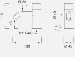 Настольный запорный клапан для холодной воды. Высота 115 мм MIL109