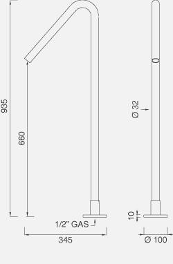 Отдельно стоящий кран для ванны. Высота: 935 мм FRE23