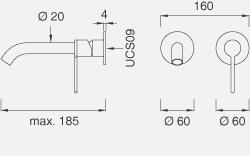 Настенный смеситель с краном. Длина макс. 185 мм INV21