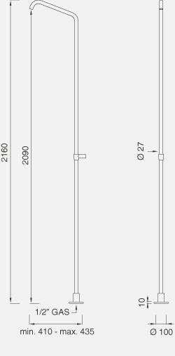 Отдельно стоящий кран для душа с настенным креплением. Высота 2160 мм NEU24