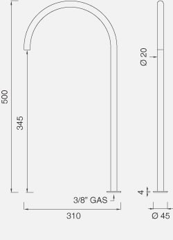 Настольный вращающийся кран. Высота 500 мм FRE67