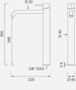 Настольный смеситель для раковины. Высота 355 мм MIL18