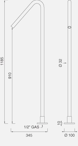 Отдельно стоящий кран для раковины. Высота: 1185 мм FRE22